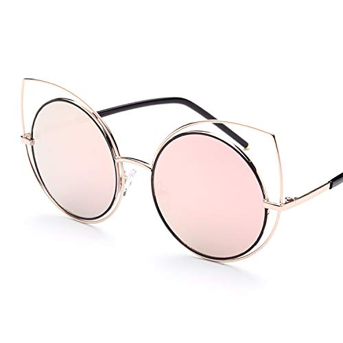 cat eyes sunglasses round frog mirror reflective sunglasses,actual photo,C2 gold frame white mercury