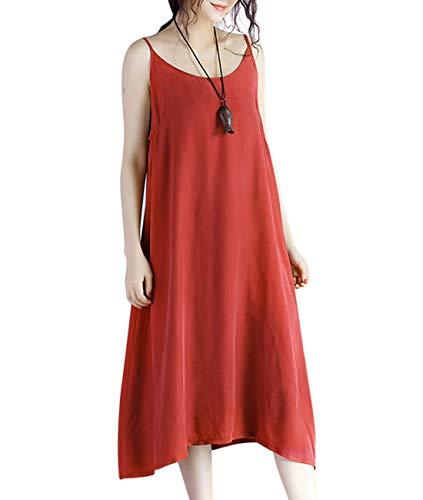 YESNO Women Casual Loose Slip T-Shirt Dresses Beach Cover up Plain Dress A Skirt Hemline