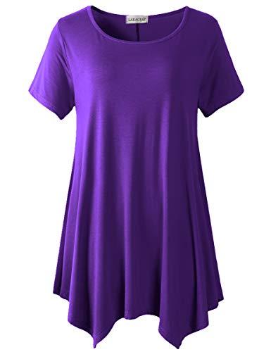 LARACE Womens Swing Tunic Tops Loose Fit Comfy Flattering T Shirt (M, Deep Purple) (Lsu Items)