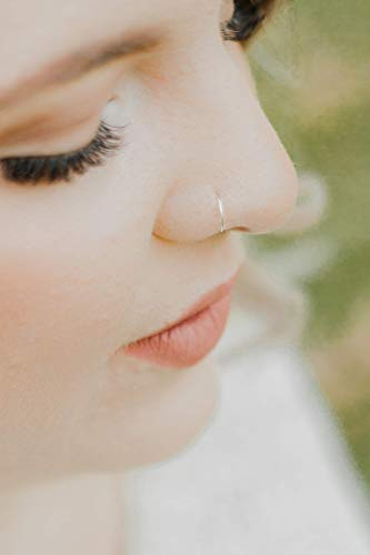 Delicate 24g Silver Thin Nose Ring 24 Gauge Hoop 24g Import