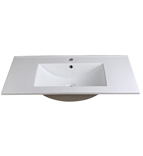 "Fresca FVS8136WH Allier 36"" White Integrated Sink with Count"