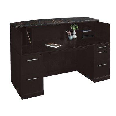 Mayline SRCDMESP Sorrento Reception Station Desk with Granite Counter, 1 PBF and 1 FF Pedestal, Espresso (Mayline Reception Desk)