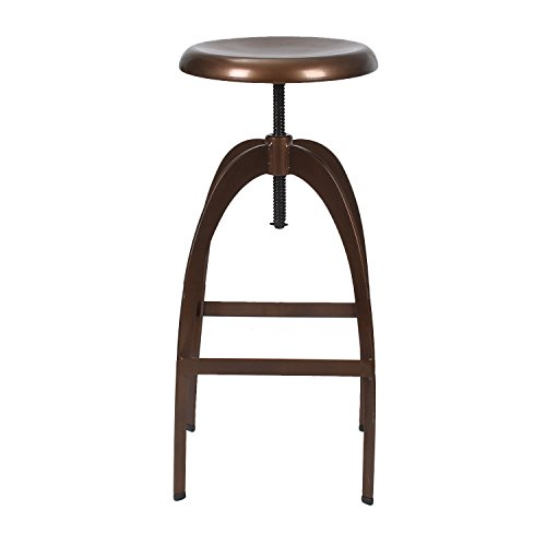Asense Height Adjustable Logan Metal Stool Four Leg 26-33 Inch Stool Swivel 360 degree (Copper Tone)