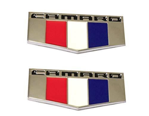 (2pcs Camaro M Front Right Left Fender Emblems Badge 3D Replacement for Chevrolet Camaro Chrome)
