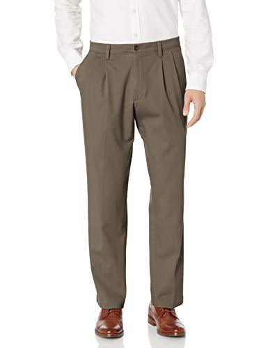 Dockers Men's Classic Fit Easy Khaki Pants - Pleated D3, Dark Pebble (Stretch), 34 30