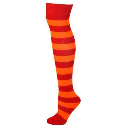 Striped Socks - Red/Neon Orange ()