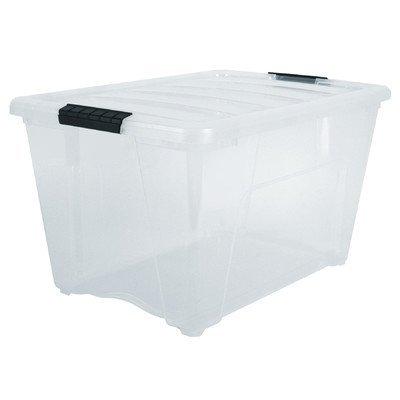 IRIS USA, Inc. TB-56D CLR/BLK 6PK IRIS 54 Quart Stack & Pull Box, Clear, 53 Black Buckle (Storage Roughneck Tote)