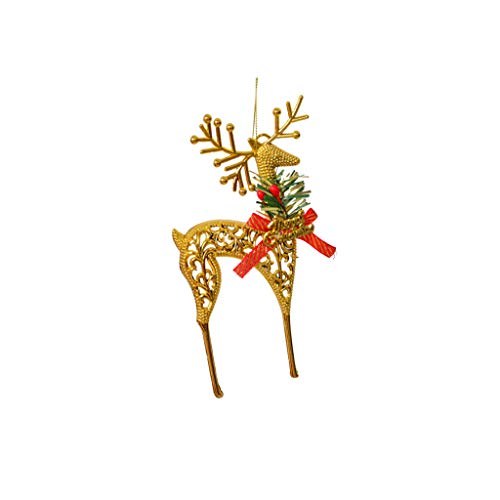 Merry Christmas Hanging Ornaments Christmas Essential Goods Golden Deer Shape Pendant Supply for Xmas Tree Party Home Decoration ()