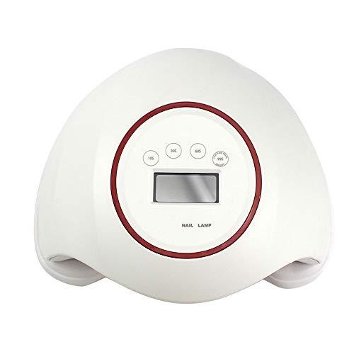 赤面アカデミー中毒ネイルドライヤーポータブルネイルライト - ネイル光線療法機48ワット液晶ディスプレイマルチステップタイミング無痛モードネイルドライヤー,White