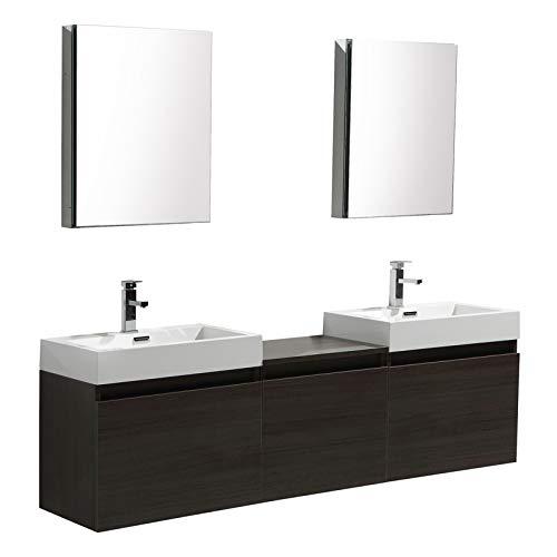 Infinity Bathroom Vanity - Aquamoon Venice Modern Bathroom Vanity - Infinity Bathroom Sink - Comes w/Medicine Cabinet and FCUBIC01 Chrome Faucet (69