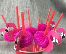 Lavenz 25pcs Summe Party Boxed Fruit Cocktail Drinking Straws 3D cartoon flamingo straws for Pool Party Hawaiian (Halloween Fruit Cocktails)