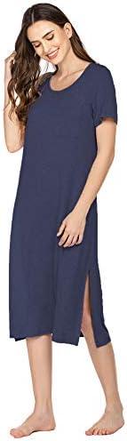 Ekouaer Long Nightgowns for Women Long Sleeve Nightgown Women Notch Collar Pajama Dress Loose Fit S-XXL