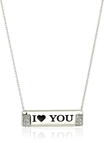 """Sterling Silver """"I 'Heart' You"""" Horizontal Bar Necklace Made with Swarovski Crystal (18"""")"""
