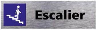 Sticker de Porte Escalier Montant 2 Dimensions 170 x 50 mm Aspect Aluminium Bross/é