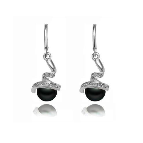 Gome-z classic Spiral Imitation pearl quality Rhinestones earrings ear accessories fashion jewelry silver black