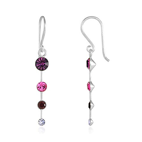 925 Sterling Silver Purple Crystal Drop Dangle Earrings