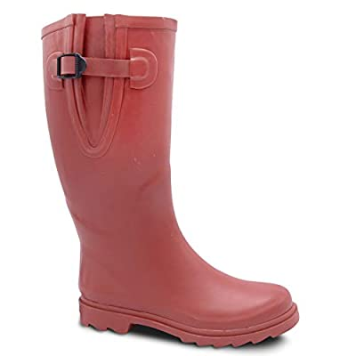 EXTRA TOUCH Extra Wide Calf Rubber Rain Boots Wide Foot and Ankle up to 20 Inch Calf Red