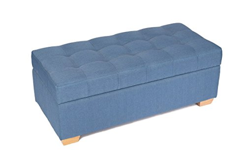 """epeanhome Storage Bench,47"""" Storage Ottoman Footstool Chest,Fabric Linen Top Design with Solid Wood Legs for Entryway Hallway,Living Room and Bedroom (blue) (Room Footstool Living)"""