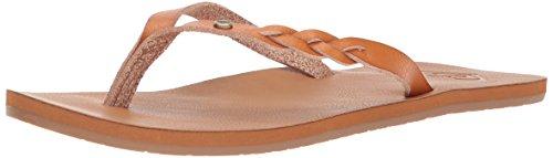 Women Leather Flip Flops (Roxy Women's Liza Sandal Flip-Flop, Tan/Brown, 9 M US)