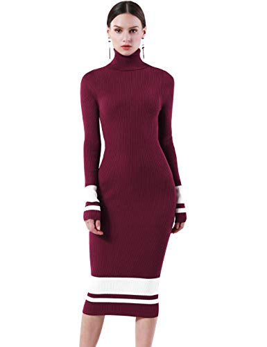 PrettyGuide Women Slim Fit Ribbed Turtleneck Long Sleeve Midi Knit Sweater Dress Burgundy with White XS