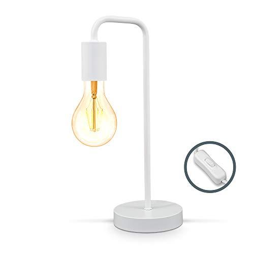 B.K.Licht I Retro tafellamp gebogen I Mat-wit I E27 I kabel met schakelaar I metaal I rond leeslampje
