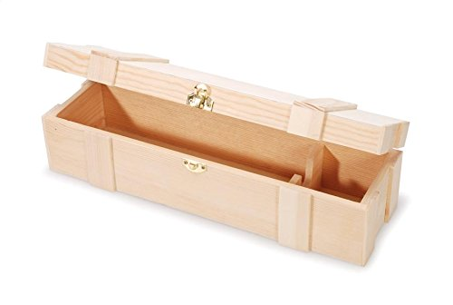 (Darice Unfinished Wooden Wine Box, Hinged with Clasp, Twin, Multicolor)
