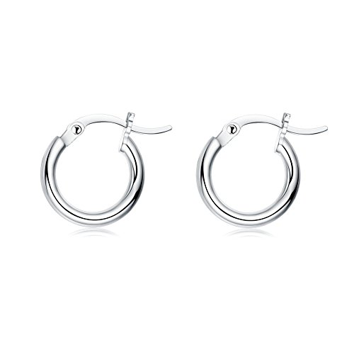 Small Hoop Earrings for Women Girls 925 Sterling Silver 2mm Tiny Round-Tube Huggie Hoops Hypoallergenic (12mm) -