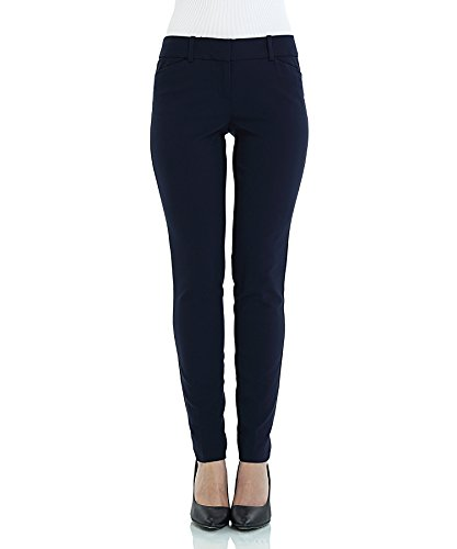 SATINATO Women's Straight Pants Stretch Slim Skinny Solid Trousers Casual Business Office Blue by SATINATO