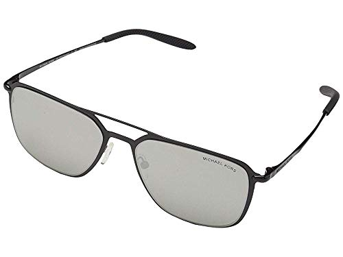 - Michael Kors Men's 57 mm Trenton MK1050 Shiny Black/Silver Mirror One Size