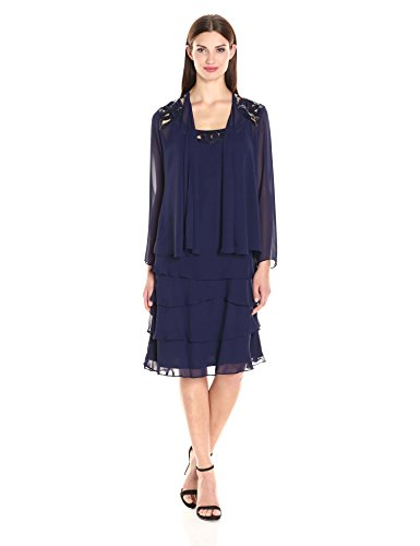 S.L. Fashions Women's Embellished Tiered Jacket Dress