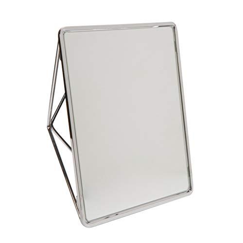 Bath Bliss Free Standing Geometric Vanity Mirror, Horizontal or Vertical, Make-up & Shaving Use, Tabletop Chrome (Vanity Bliss)