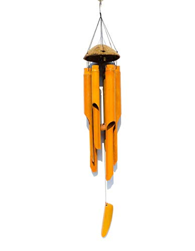 (Wind Chime with Large Bamboo Bell Tubes and The Top Made From Half Coconut Wood, Ecofriendly Materials, 100% Handmade )