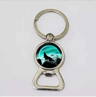 Wolf & Moon Bottle Opener Key Chain,Blue Moon Jewelry,Bottle Opener Key Chain
