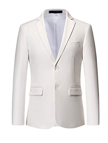 Single Breasted Two Button Sport Coat - MOGU Mens Suit Jacket Slim Fit Single Breasted Two Button 10 Colors US 40 Asian 4XL White