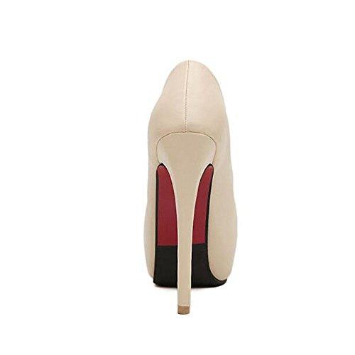 L'Europe en cuir imperméable à l'eau Les Shallow Mouth Noir Superfine Pompe Princesse Chaussures Femmes , apricot , 39