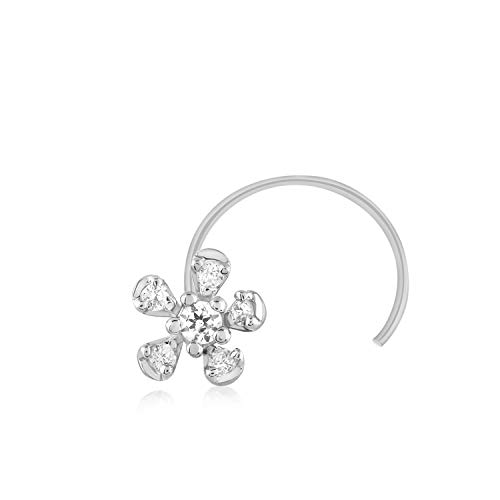 (CARATS FOR YOU 0.05ct Round Shape Genuine Real Natural Diamond 10k White Gold Floral Nose Ring Stud Pin for women)