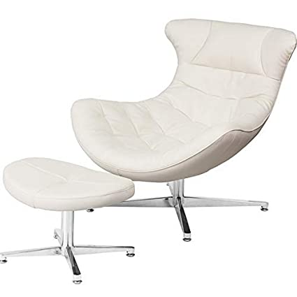 Super Amazon Com Mikash Retro Style White Leather Cocoon Accent Evergreenethics Interior Chair Design Evergreenethicsorg