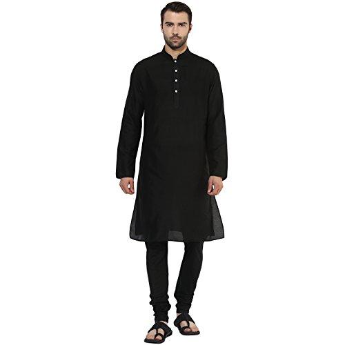 KISAH Men's Indian Solid Jaquard Cotton Silk Plain Kurta & Churidar Set 40 Black for Wedding & Festive Season