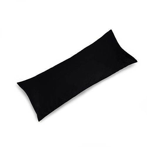 YAROO 21x60 Body Pillow Cover,Body Pillow Case,400 Thread Count,100% Egyptian Cotton,Envelope Closure,Solid,Black.