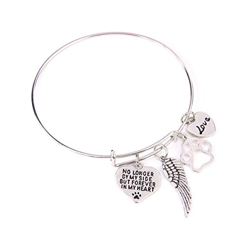 RIAH FASHION Inspirational Message Charm Bracelets - Love Friendship Heart Lucky Pendant Wire Bangle, Open Cuff (No Longer by My Side but Forever in My Heart)