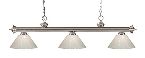 (Z-Lite 200-3BN-PWH 3 Billiard Light, Brushed Nickel)