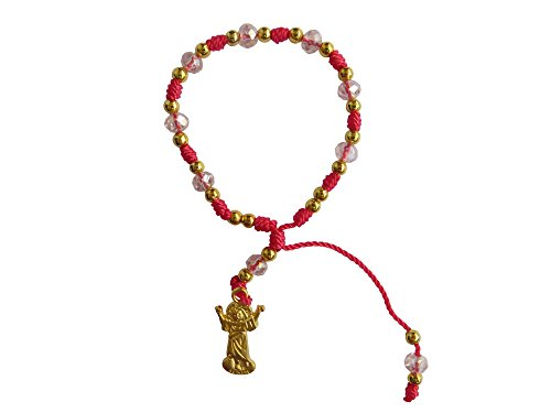 Pink Thread with Cristal Beads Divine Child Bracelet Pulsera Del Divino Niño Jesus