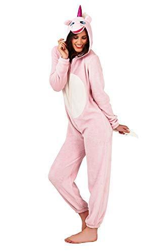 Pijama para Mujer Onesie con Orejas de Pijama Todo en uno Unicornio Rosa Talla M