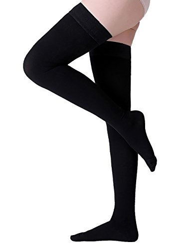 Thigh High Compression Stockings, Closed Toe, Firm Support 20-30 mmHg Gradient Compression Socks with Silicone Band, Opaque, Best for Treatment Swelling, Varicose Veins, Edema, Pregnancy, Black XXL