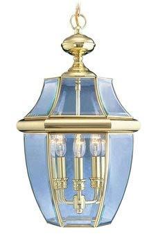 Livex Lighting 2355-02 Monterey 3-Light Outdoor Hanging Lantern, Polished Brass ()