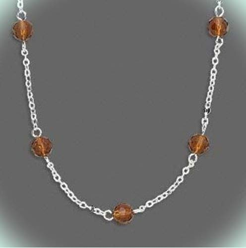 Amber Brown 6mm Faceted Glass Bead Stations Silver Plated 18