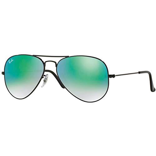 Ray-Ban RB3025 Aviator Flash Mirrored Sunglasses, Shiny Black/Green Gradient Flash, 62 mm ()