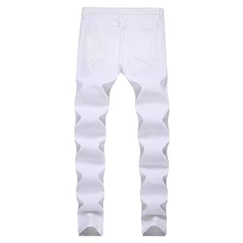 Fit Cher Pantaloni Destroyed Uomo Jeans Fori Closura Bianca Abbigliamento Per Strappati Skinny Denim Slim Da Moto Streetwear YOqq0F