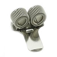 Support en métal pour deux stylos avec clip de poche