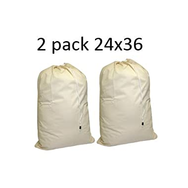 "Cotton Laundry Bag, 2 Pack - 24"" x 36"" - sturdy, 100% cotton, locking drawstring closure for easy carrying, perfect laundry bag for college students living in dorms, and sorting laundry at home."